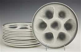 French Ceramic Thirteen Piece Oyster Set 20th c