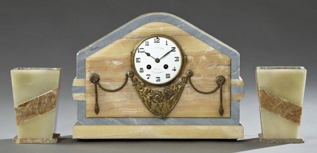 Art Deco Three Piece Alabaster and Marble Clock Set, c.