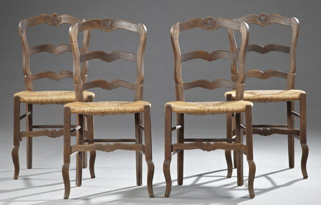 Set of Four French Provincial Carved Beech Ladderback