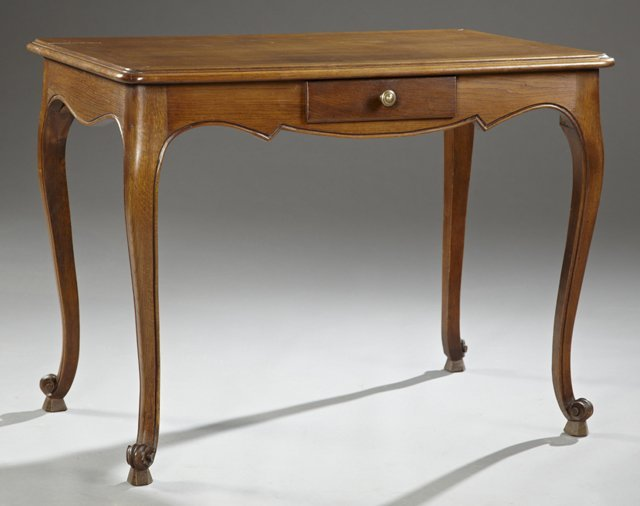 Louis XV Style Carved Oak Writing Table, late 19th c.,