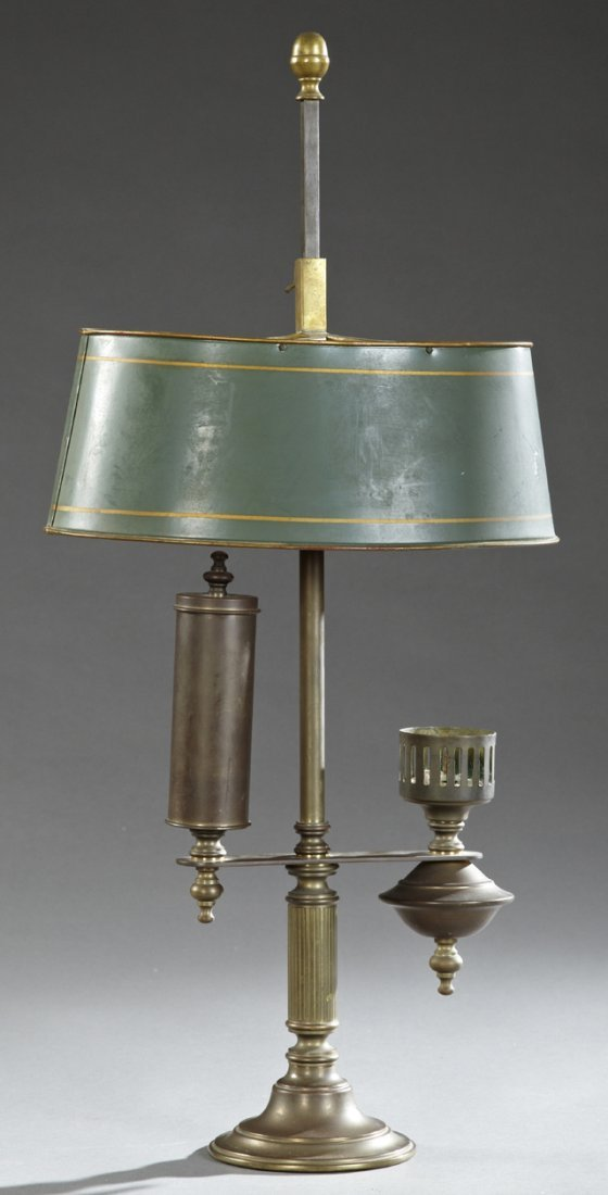 Unusual Student Candle Lamp, 20th c., with a painted
