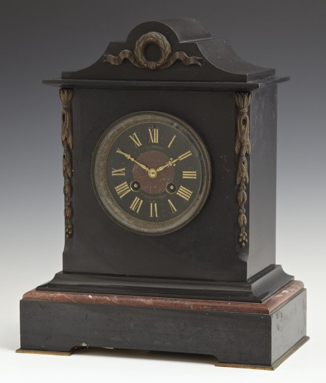 Ormolu Mounted Black and Rouge Marble Mantel Clock, c.