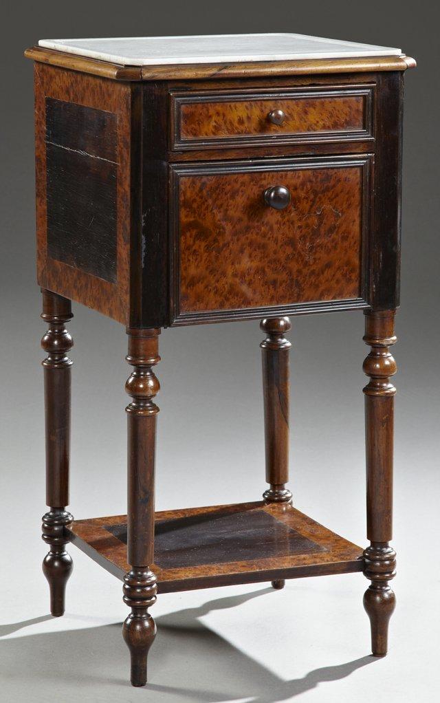 Louis XVI Style Burled Elm Marble Top Nightstand, c.