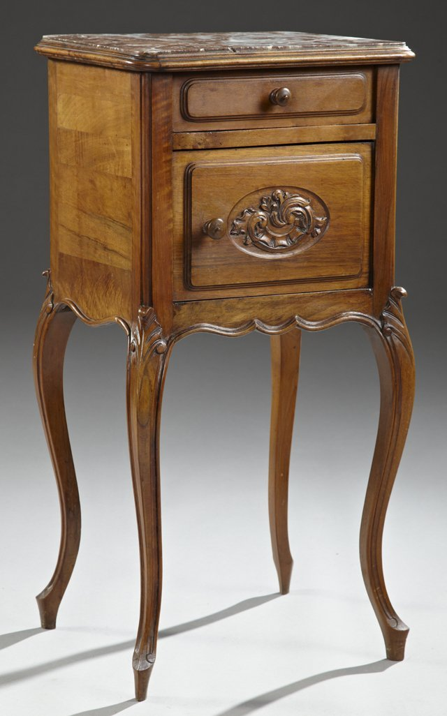 Louis XV Style Carved Cherry Marble Top Nightstand,