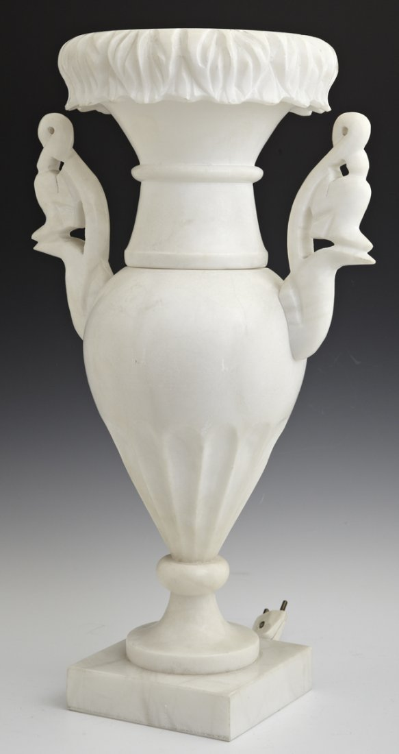 Carved Alabaster Lamp, early 20th c., of baluster form,