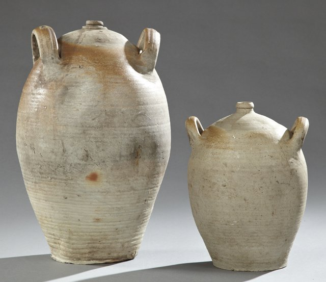 Pair of Earthenware Baluster Form Oil Jars, 19th c.,