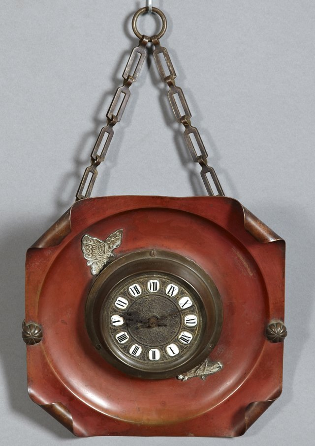 Unusual Copper and Brass Wall Clock, c. 1900, of square