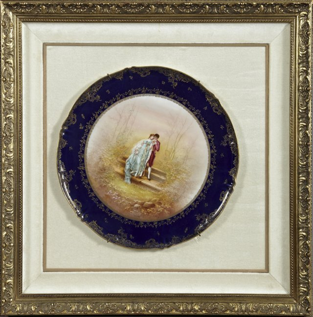 Large Framed Circular Porcelain Tray, 19th c., with a