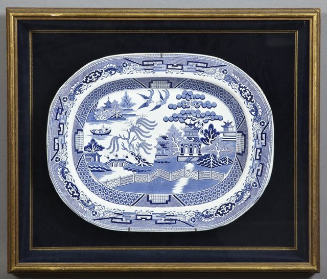 Large Blue Willow Ironstone Platter, 19th c., presented