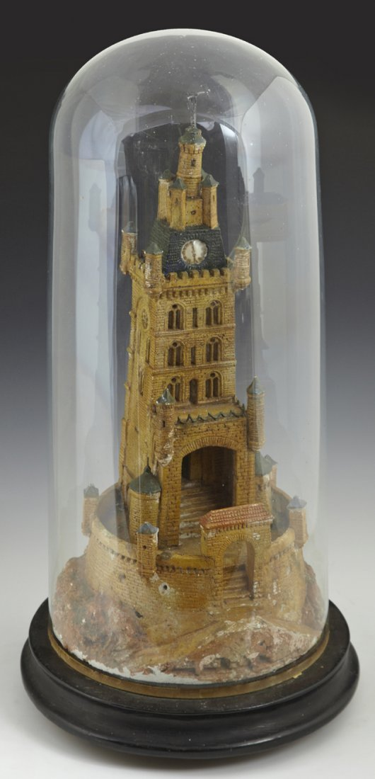 Unusual Polychromed Plaster Model of a Castle, 19th c.,