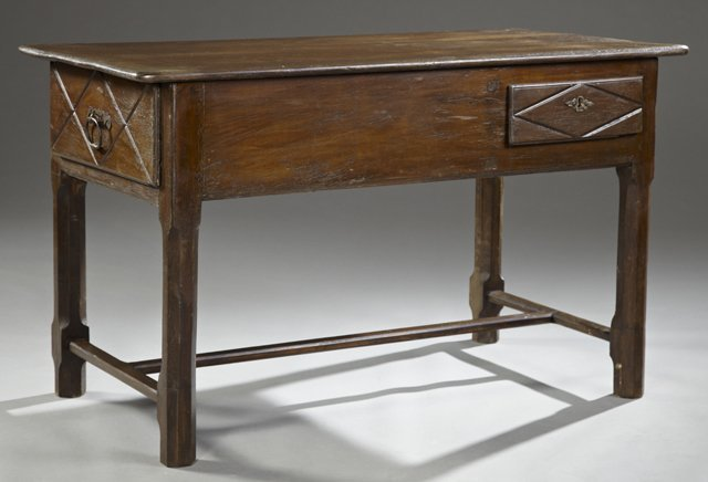 French Provincial Carved Cherry Farmhouse Table, 19th