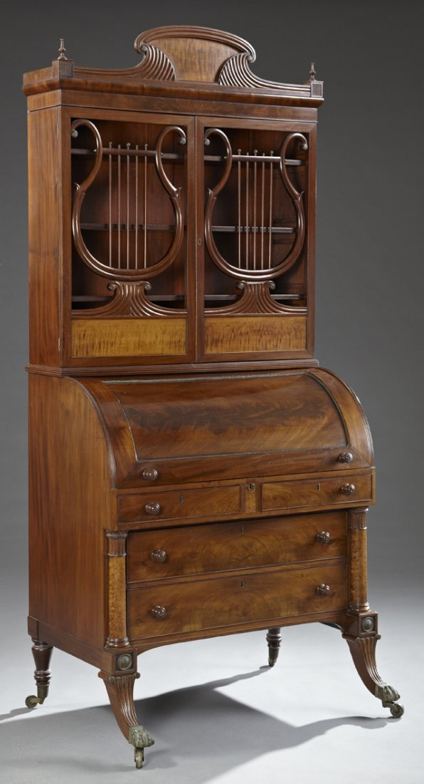 Unusual American Carved Mahogany and Maple Bookcase
