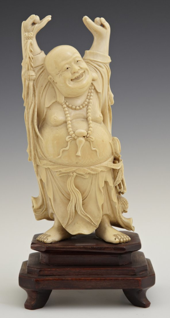 Oriental Carved Ivory Figure of a Hotei, early 20th c.,