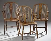 Set of Three Carved Elm Wheelback Windsor Armchairs,