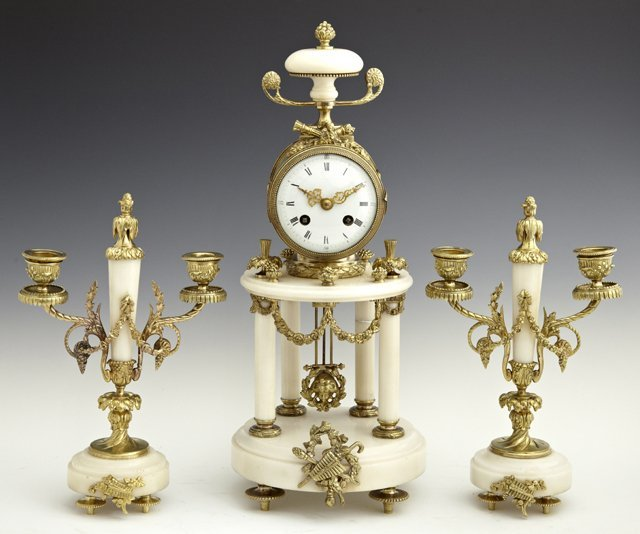 Louis XV Style Bronze and Alabaster Three Piece Clock