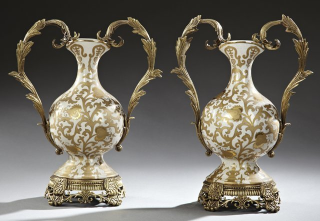 Pair of French Style Bronze Mounted Crackleware