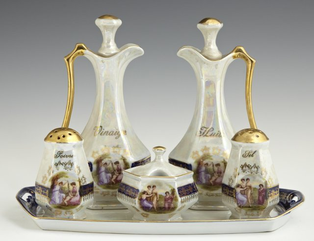 Six Piece Porcelain Condiments Set, c. 1900, consisting