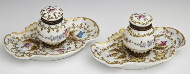 Pair of French Porcelain Inkwells, c. 1900, with gilt,