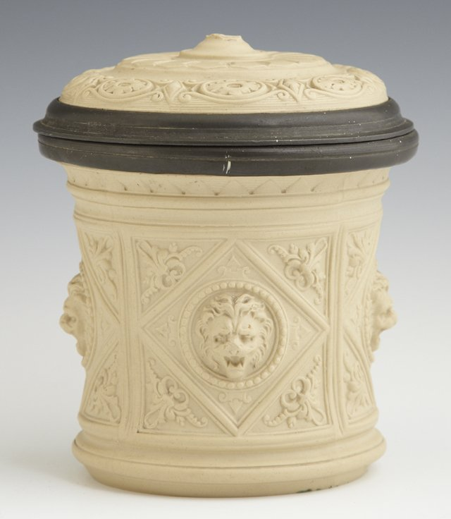 Unusual Ceramic and Pewter Tobacco Jar, 19th c., the