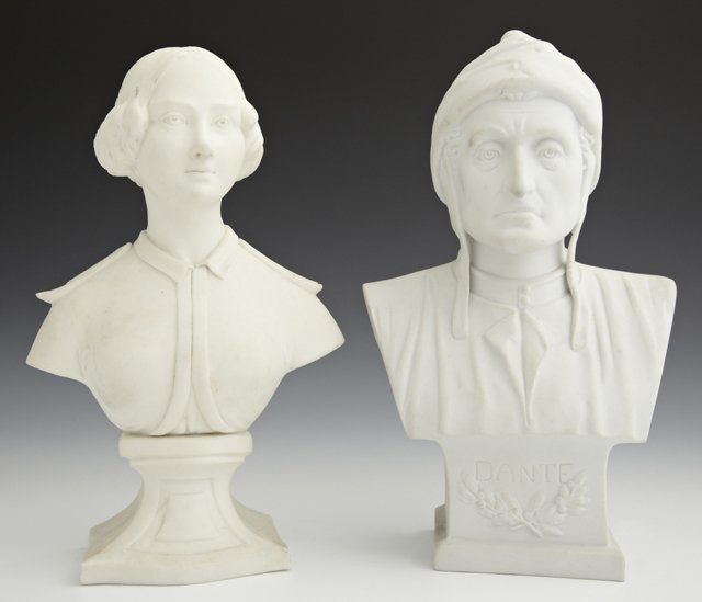 Two Parian Cabinet Figures, 19th c., one of Dante, the