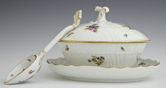 Diminutive Covered Meissen Sauce Tureen, 19th c., with
