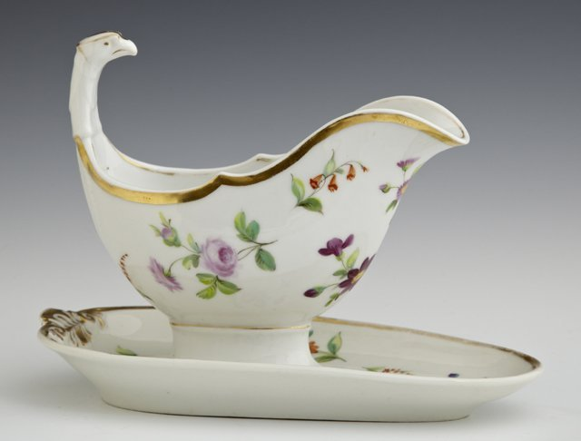 Sevres Style Gravy Boat and Flat, 19th c., with gilt