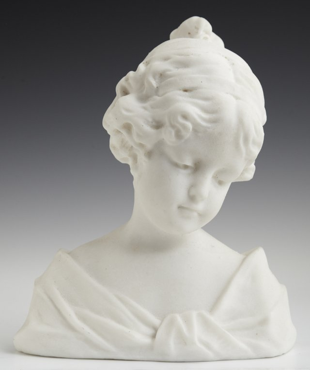 Alabaster Bust, 20th c., of a pensive young woman, H.-