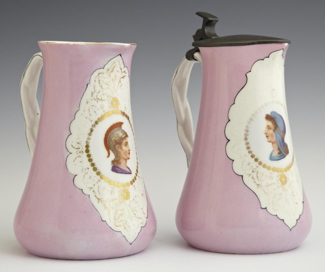 Pair of French Porcelain Pitchers, 19th c., with