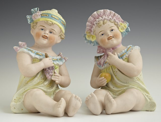 Pair of German Polychromed Bisque Piano Babies, late