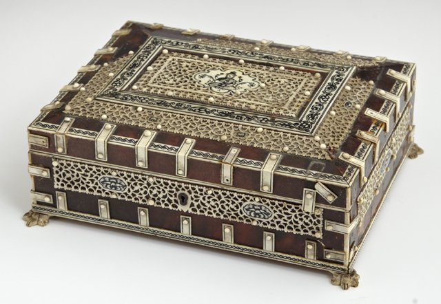Indian Tortoise Shell Dresser Box, late 19th c., with