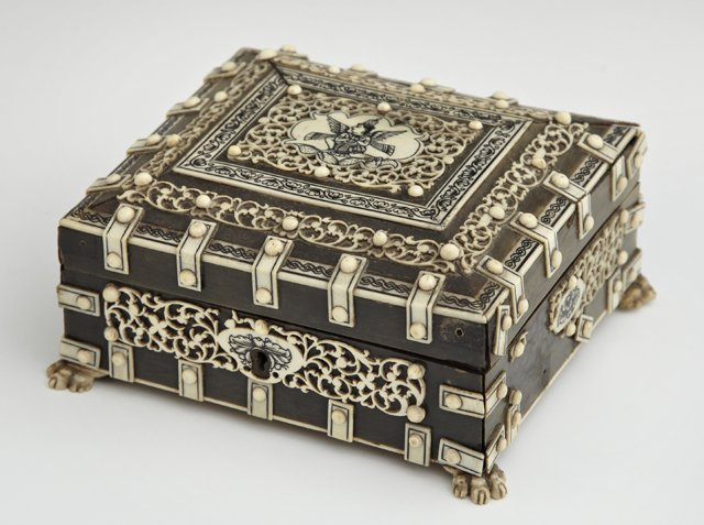 Diminutive Indian Bone and Ivory Dresser Box, early