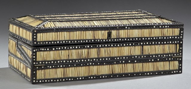 Anglo Indian Bone Inlaid Porcupine Quill Lap Desk, 19th