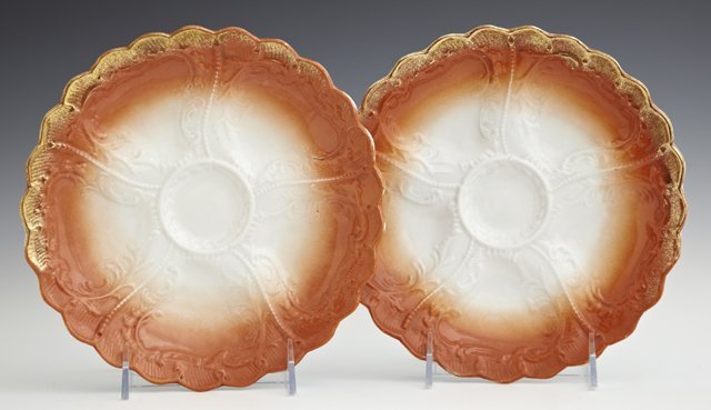 Pair of German Oyster Plates, c. 1920, marked Weimar,