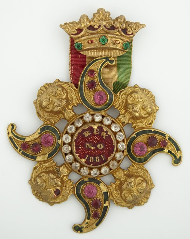 Mardi Gras-Rex Ducal Badge, 1881, with original