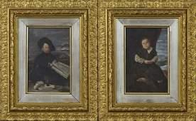 "French School, ""Portrait of a Dwarf,"" 19th c., pair of"
