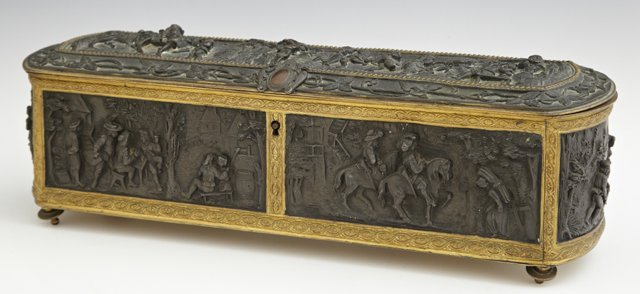 French Bronze and Patinated Spelter Dresser Box, late