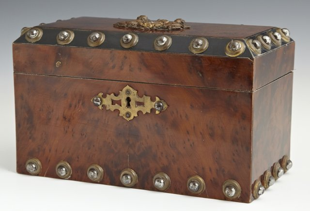 Metal Mounted Burled Satin Mahogany Tea Caddy, c. 1870,