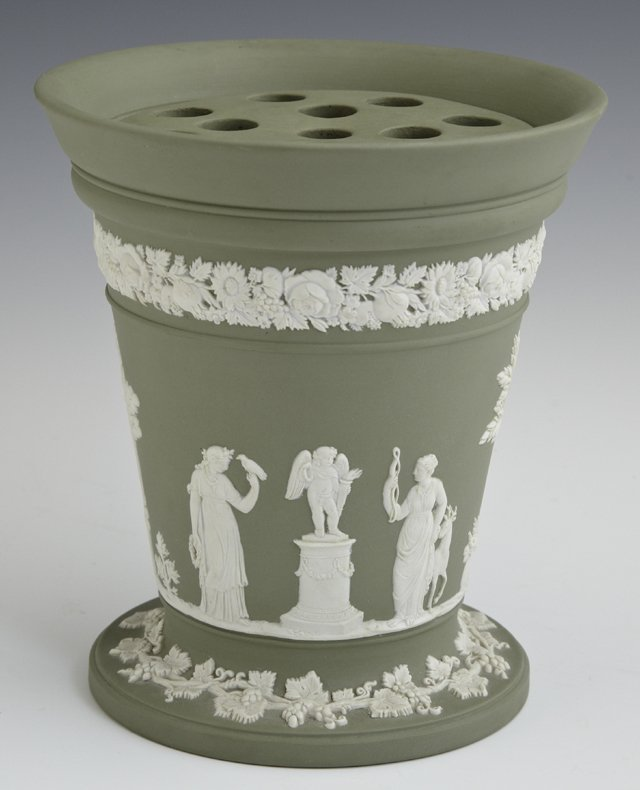 Wedgwood Green Jasperware Bough Pot, c. 1900, with