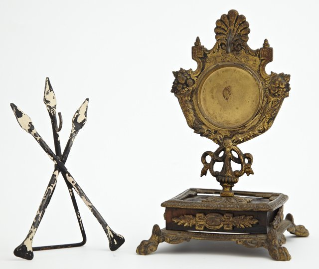 Two Pocket Watch Holders, 19th c., one wrought iron of