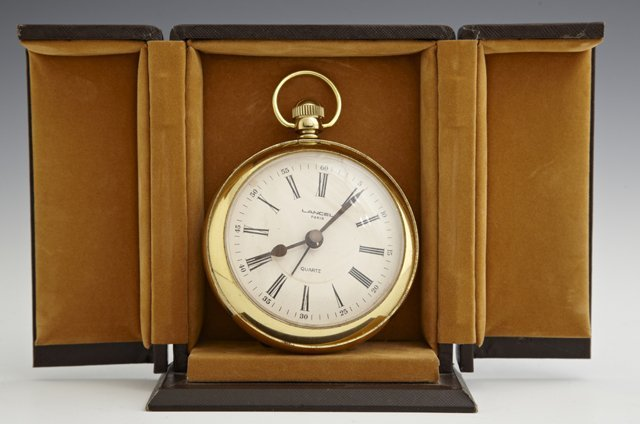 Large Brass Desk Clock, 20th c., by Lancel, in the form