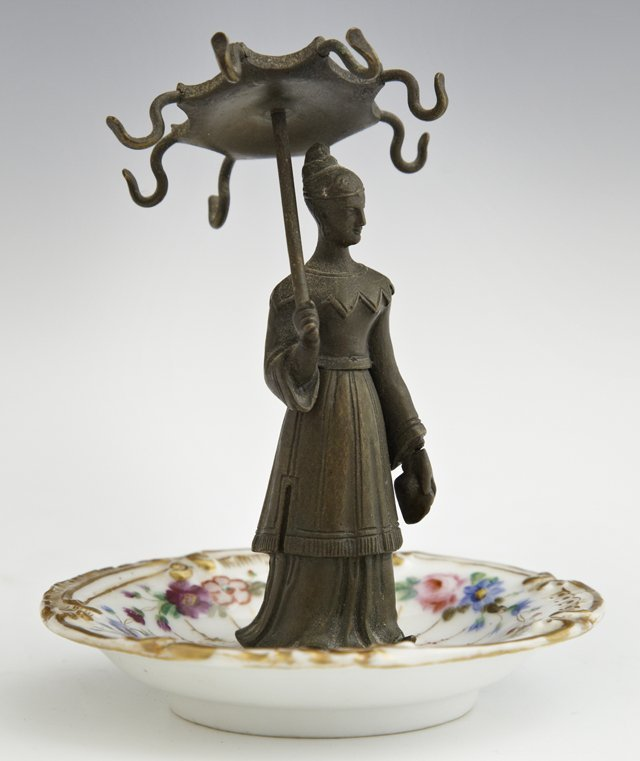 Old Paris Porcelain and Bronze Ring Holder, 19th c., in