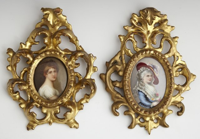 Two Oval Painted Porcelain Plaques, 19th c., presented