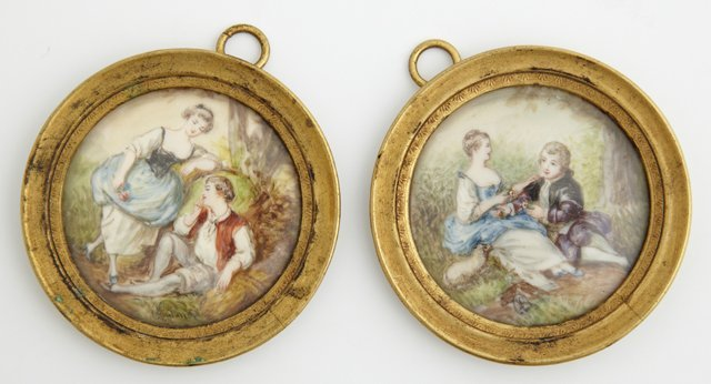 Pair of Miniatures, late 19th c., of lovers in gardens,