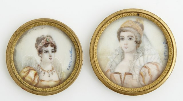 Catulle, Pair of Miniatures of Ladies, 19th c., signed