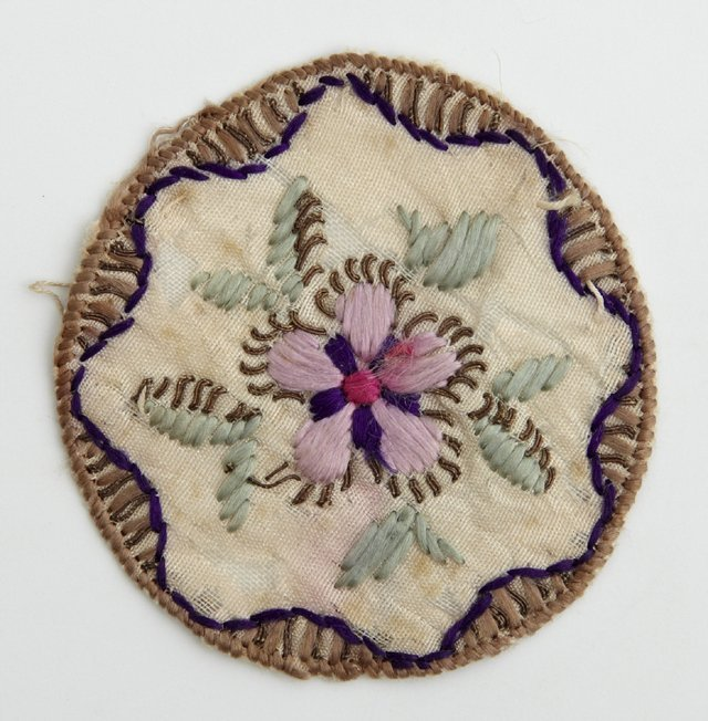 Rare Pocket Watch Sampler, 19th c., with a floral