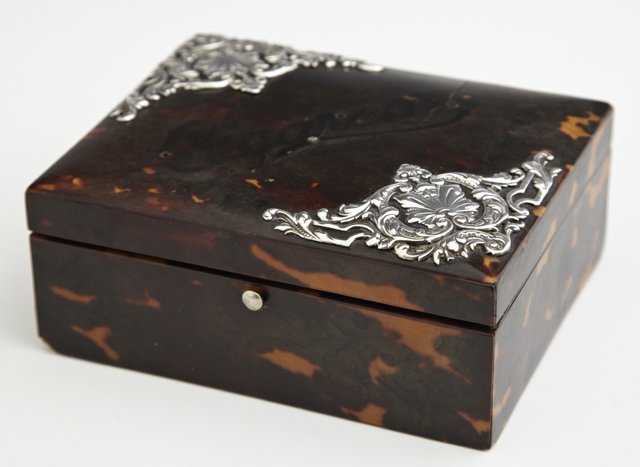 English Victorian Sterling Mounted Tortoise Shell