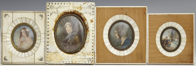 Group of Four Miniatures, 19th c., one of a woman in