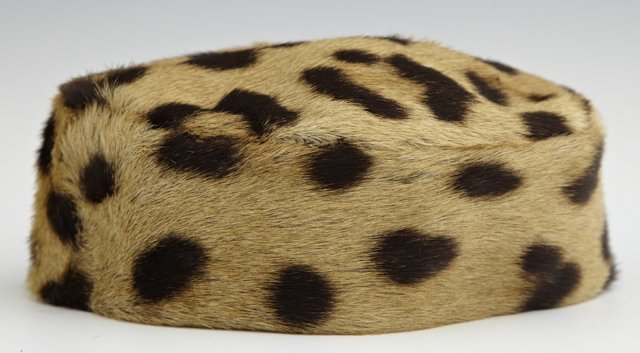 Leopard Fur Pill Box Hat, c. 1960, H.- 2 1/2 in., W.- 4