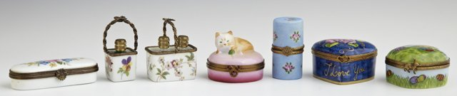 Group of Seven Pieces of Miniature Limoges Hand Painted
