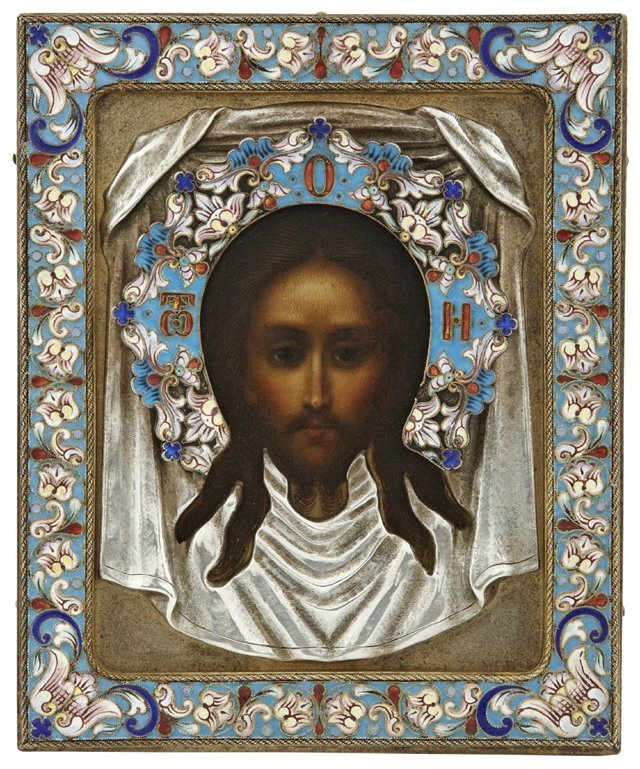 Russian Icon of Jesus, c. 1910, Khlebnikov, with an